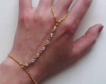 Gold Slave Chain , Crystal Slave Bracelet , Clear Ab Crystal Bracelet , Gold Bracelet , Clear Bead Bracelet , Handmade Jewelry , Gift