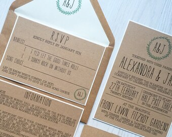 Rustic wedding invitation - green laurel wedding invitation - kraft wedding invitation
