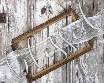 blessed Sign || Ready to Ship || Metal Sign || Home Decor || gallery wall || Galvanized || Black || cursive sign || cursive word ||