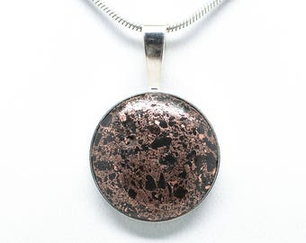 Sterling Silver 20mm Copper Firebrick Pendant