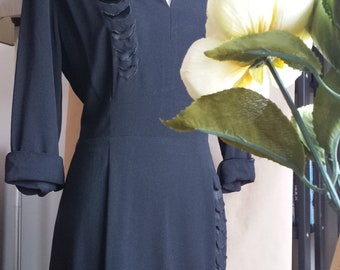 1940s CHD Robbins original black crepe dress with satin inserts