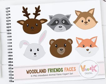 Forest Animals Faces, Woodland Animals Clipart, Deer, Fox, Racoon, Bunny, Bear, Animal Faces Clipart, Woodland Baby Shower, Commercial Use