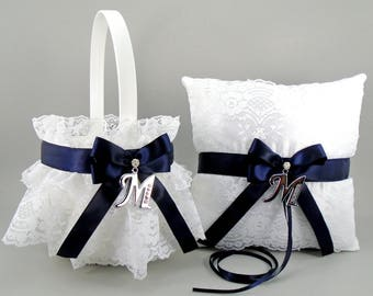 Marine Blue Flower Girl Basket & Ring Bearer Pillow Set with Initial Letter Charm of Your Choice May also be Purchased Individually DLX/INT