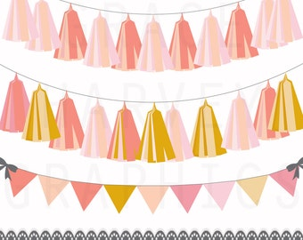 Tassel Garland and Bunting Banner Clip Art, INSTANT download EPS PNG, Peach, Gold Banner and Tassel Garland, Clip Art, Small Commercial Use