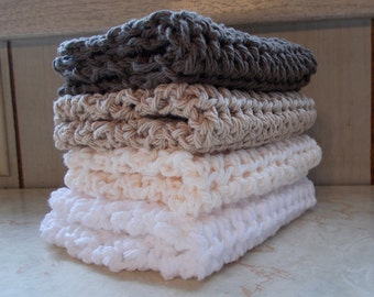 Crochet dish wash clothes, Dish cloths, Wash Cloths,Set of 4, Extra large, Neutrals browns linen, Farmhouse Dishcloths