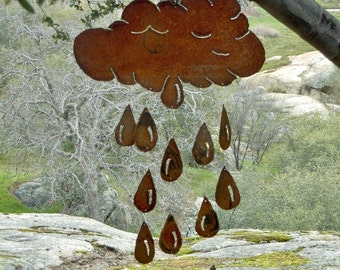April Showers Cloud & Raindrop Rusty Metal Wind Chime