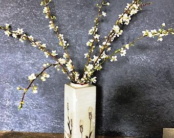 MidCentury Flower vase - Ikebana Style - Vintage Otagiri Original with Wheat design - Japanese tall Square Vase - minimalist - Wabi sabi
