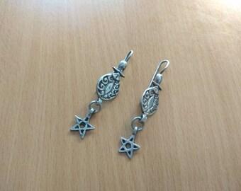 Old Moroccan Silver Earrings and Star drop, Berber Earrings