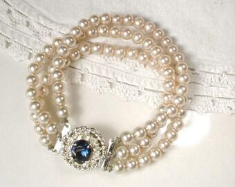 Vintage Champagne Ivory Pearl Sapphire Rhinestone Bridal Bracelet, Art Deco Three Strand Glass Pearl Ornate Pave Clasp Something Blue Old
