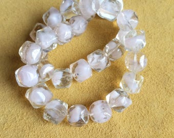 Clear, white and pink swirl 10mm rounded square glass beads