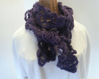 Purple crocheted lace scarf