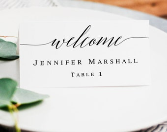 Wedding seating cards template Printable wedding place cards Place cards instant download Seating cards rustic Wedding table name card #vm51