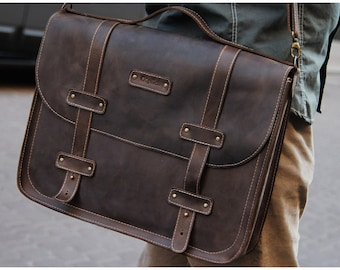 Leather Messenger Bag/DARK COFFEE large computer case/Leather briefcase messenger bag / Men's Bag /  Gift for him / Free Personalization