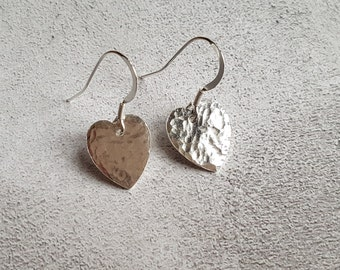 Hammered Heart Earrings - Dangle Earrings - Drop Earrings - Hammered Hearts - Heart Earrings - Silver Heart Jewlry - Silver Hearts