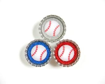 Bottle Cap Magnets - Baseball - Set of 3