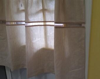Linen Cafe Curtains, Premium Quality Irish Linen,  Kitchen Curtains, Window Curtains, Cafe Curtains.
