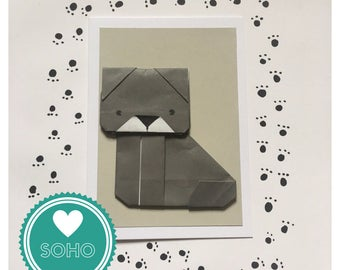 Origami Blank Greetings Card - Dog