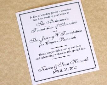 Charity Wedding Donation Card, Favor Card, DEPOSIT