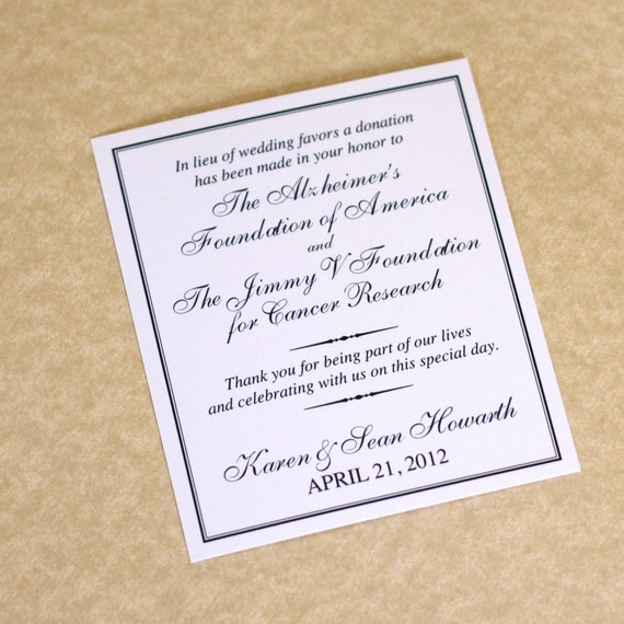 Wedding favor donation cards