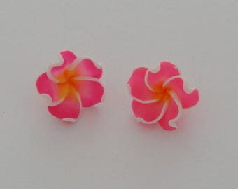 Flower polymer clay pink yellow orange - Ref: PF 714