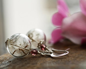 Dandelion seed earrings, Sterling silver wish earrings , botanical jewelry, real flowers, make a wish, bridesmaid sets, bridal accessories