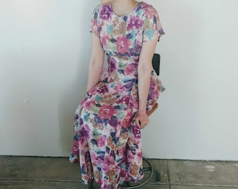 Carole Little Vintage Maxi Midi Dress 1980s, 1990s Pink Mauve Floral Prom Wedding Dress Mother of the Bride Bridesmaid Vintage Wedding