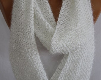 Hand Knit White Sparkly Infinity Scarf Fall Scarf Winter Scarf Neck Warmer Women's Fashion Accessories Holiday Gift Ideas For Her ESCHERPE