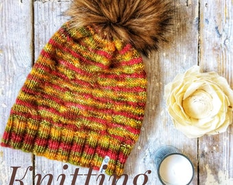 knitting pattern, womens, ladies, beanie, slouch, hat, winter, ski, gift ideas, pdf, digital download, instant download