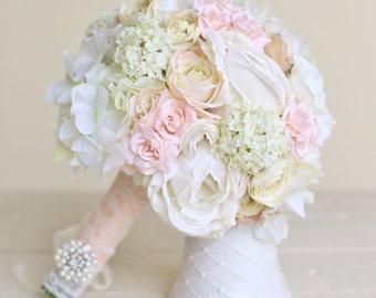 Silk Bride Bouquet Classic White Cream Pink Peonies Roses (Item Number 140418)