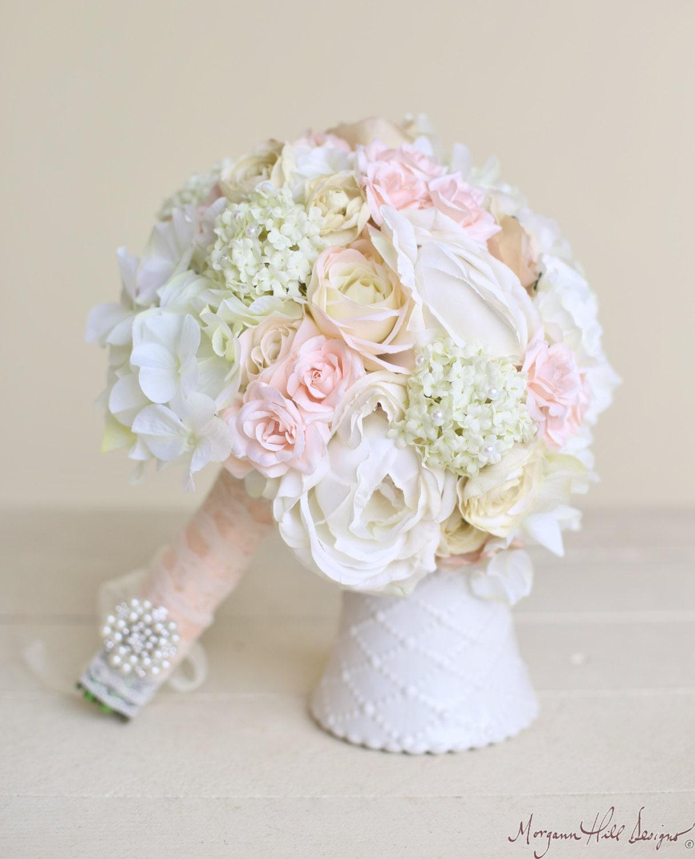 Classic Wedding Bouquets: Silk Bride Bouquet Classic White Cream Pink Peonies Roses