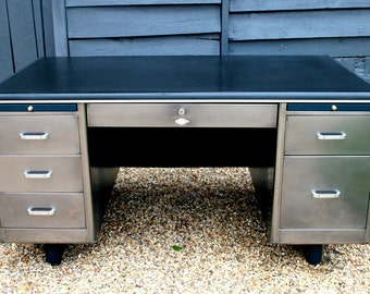 1950's Polished Steel Engineers Desk bespoke colour schemes available
