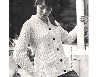 Aran Cardigan Knitting Pattern Womens Button Front Sweater Jumper PDF Instant Download Pattern -K48