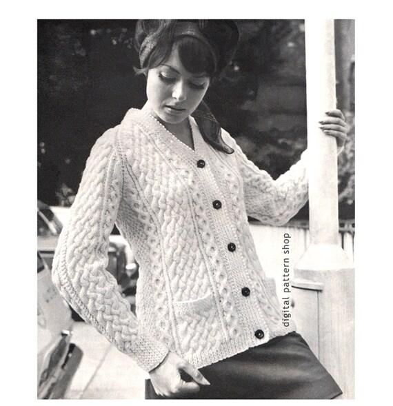 Aran Cardigan Knitting Pattern Womens Button Front Sweater