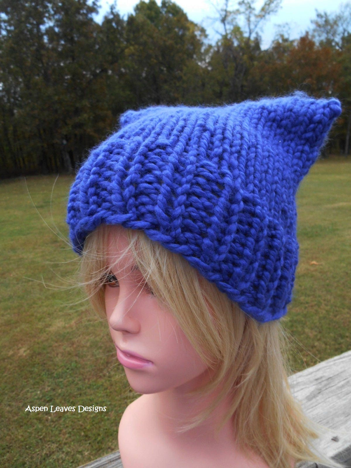 2943bb8e579 Cobalt blue cat ear hat. Chunky pussy hats. Ready to ship now. For men or  women. Medium blue winter hat.