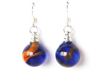 Cobalt blue, light blue and orange glass marble dangle earrings