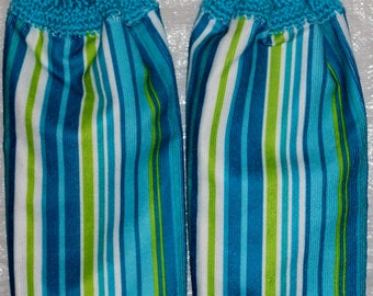 Set of two blue/green/teal Stripes Kitchen Towels