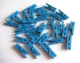25 Mini Wood Clothespins Blue Mini Clothespin Mini Clothes Pins Wooden Mini Clothespins Blue Pegs