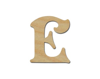"""Letter E Unfinished Wooden Letters 6"""" Inch Tall"""