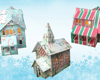 Luminary Paper House Card Stock House Christmas Decoration Luminaries