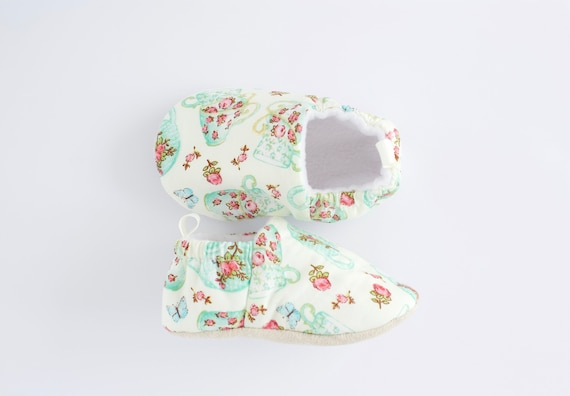 Aqua teapots & flowers, cotton Baby Girl Shoes Hand Made In England
