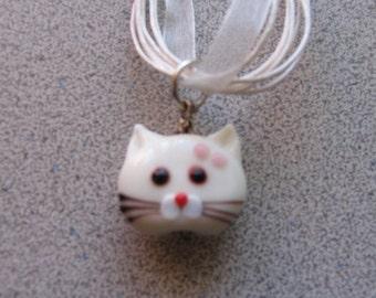 Lampworked Glass WHITE CAT Pendant necklace - Kitty Kitten