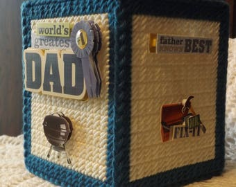 Honoring Dad / Father -  Father's Day - Tissue box cover - handmade - plastic canvas - boutique size