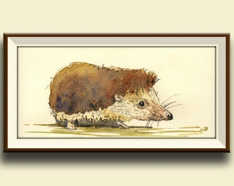 PRINT-Hedgehog in the forest -Igel Hedgehog forest animal cute nursery decor-  Art Print by Juan Bosco