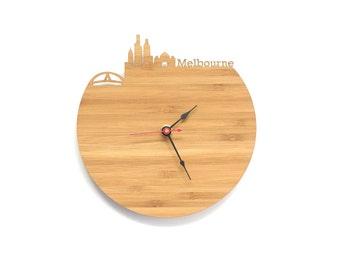 Melbourne Modern Clock - City Skyline Wall Clock - Australia
