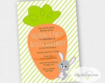 Carrot and Bunny Invitation |  Easter Invitation | Easter Egg Hunt, Easter Brunch, Big Carrot, Easter Birthday | INSTANT DOWNLOAD