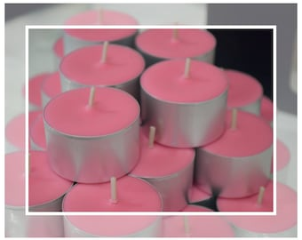 Hand Poured Soy Beeswax Tealight Candles (9 Hour Tealights) - Velvet Rose Scented