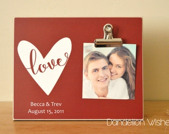Valentines Gift For Her, Personalized Picture Frame, Wedding Anniversary Gift For Him, Valentines Day Decor, Custom Photo Frame