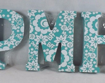 Wooden Block Letter Painted Floral My Peeps & BFF