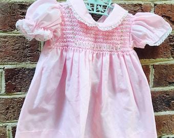 Baby girl smocked pink dress
