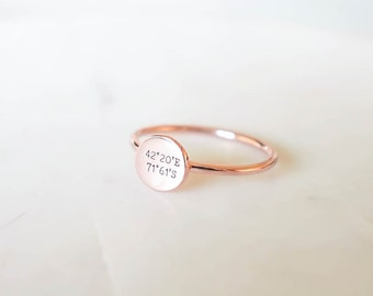 Coordinates Disc Ring • Dainty Personalized Coordinates Ring • Custom Coordinate Ring • Location Ring • Longitude Latitude Ring RM20F41